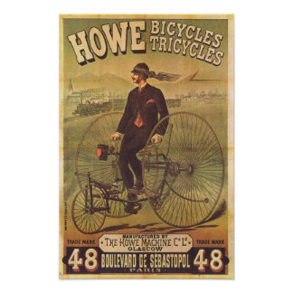 Vintage Howe Bicycles and Tricycles Ad Posters