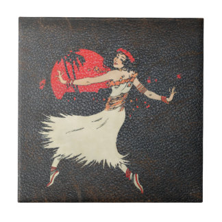 Vintage Hula Dancer Retro Hawaiian Girl Ceramic Tile