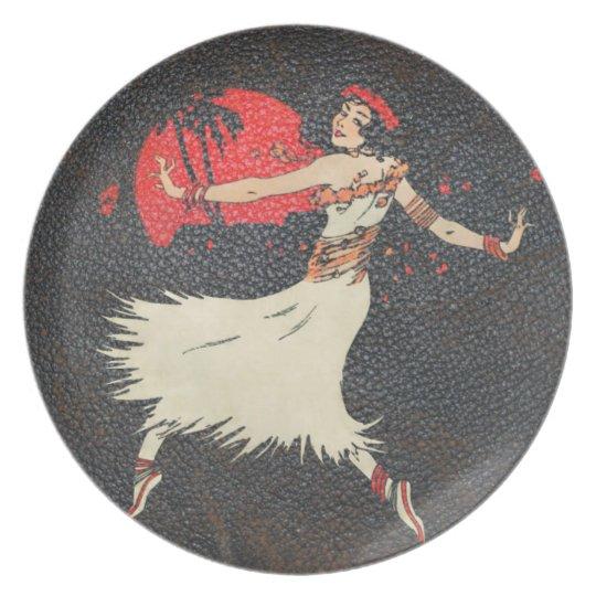 Vintage Hula Dancer | Retro Hawaiian Girl Dinner Plate