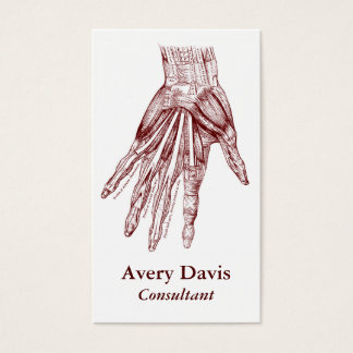 Vintage Human Anatomy Art Hand Muscles Red Business Card