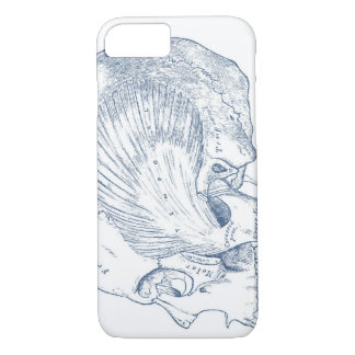 Vintage Human Anatomy Drawing Temporal Muscle Blue iPhone 8/7 Case