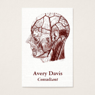 Vintage Human Anatomy Head Nerves Red Business Card