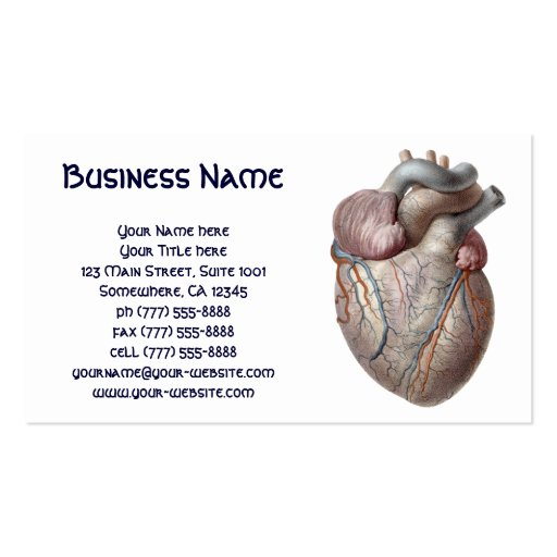 Vintage Human Anatomy Heart Organs Healthy Business Card Templates