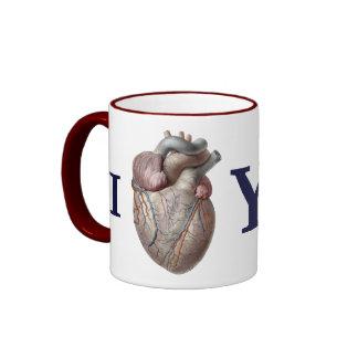 Vintage Human Anatomy, I Heart Love You Ringer Mug