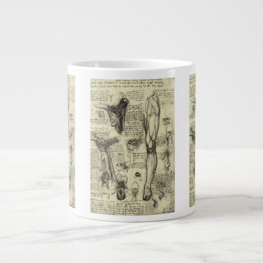 Vintage Human Anatomy Larynx Leg Leonardo da Vinci Giant Coffee Mug