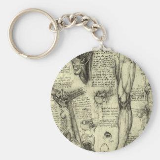 Vintage Human Anatomy Larynx Leg Leonardo da Vinci Basic Round Button Keychain