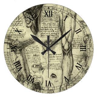 Vintage Human Anatomy Larynx Leg Leonardo da Vinci Large Clock