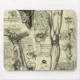 Vintage Human Anatomy Larynx Leg Leonardo da Vinci Mouse Pad