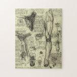 Vintage Human Anatomy Larynx Leg Leonardo da Vinci Jigsaw Puzzle