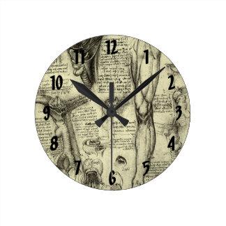 Vintage Human Anatomy Larynx Leg Leonardo da Vinci Round Clock