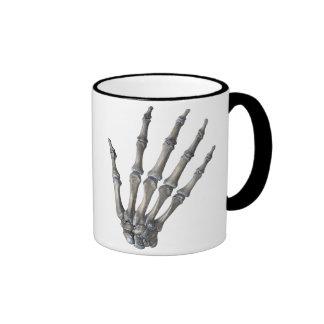 Vintage Human Anatomy Science, Skeleton Hands Ringer Mug