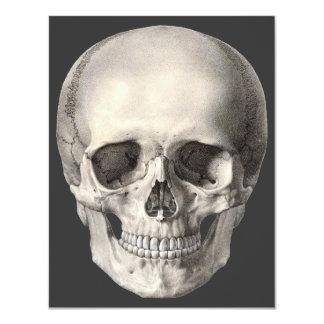 """Vintage Human Anatomy Skull, Halloween Skeleton 4.25"""" X 5.5"""" Invitation Card"""