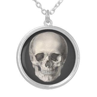Vintage Human Anatomy Skull, Halloween Skeleton Silver Plated Necklace
