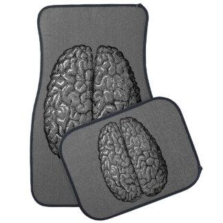 Vintage Human Brain Illustration Car Mat