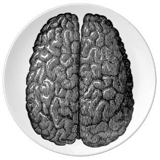 Vintage Human Brain Illustration Dinner Plate