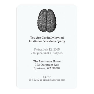 Vintage Human Brain Illustration 5x7 Paper Invitation Card