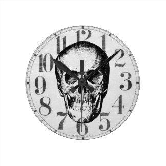 Vintage Human Skull Face Round Clocks