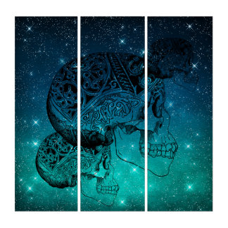 Vintage Human Skull Tattoo on Midnight Sky Stars Triptych