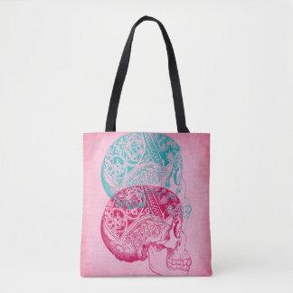 Vintage Human Skull Tattoo Turquoise Pink Fuchsia Tote Bag