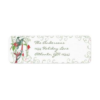 Vintage Humingbird Swirl Christmas Return Address Custom Return Address Labels
