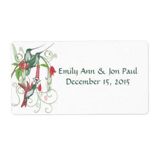 Vintage Humingbird Swirl Christmas Tree Labels