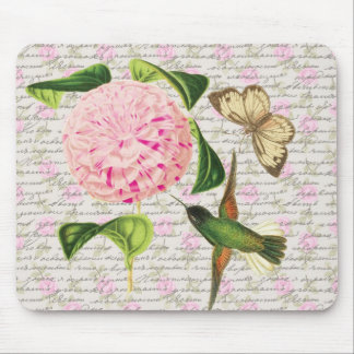 Vintage Hummingbird Butterfly and Caryophyllus Mouse Pad