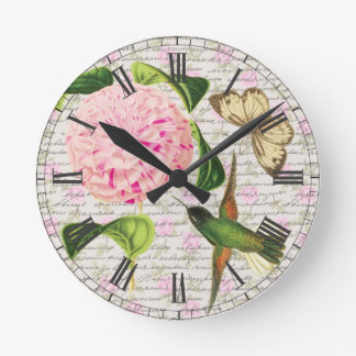 Vintage Hummingbird Butterfly and Caryophyllus Round Clock
