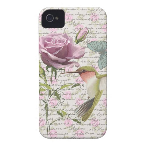Vintage Hummingbird Butterfly and Rose iPhone 4 Case-Mate Cases