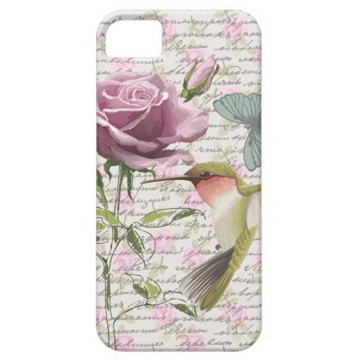 Vintage Hummingbird Butterfly and Rose iPhone 5 Covers