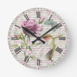 Vintage Hummingbird Butterfly and Rose Clock