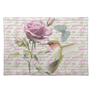 Vintage Hummingbird Butterfly and Rose Cloth Placemat