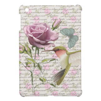 Vintage Hummingbird Butterfly and Rose iPad Mini Case