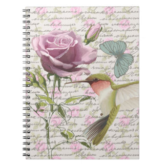Vintage Hummingbird Butterfly and Rose Note Book