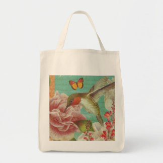 Vintage Hummingbird Collage Grocery Tote