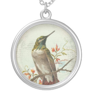Vintage Hummingbird Silver Plated Necklace