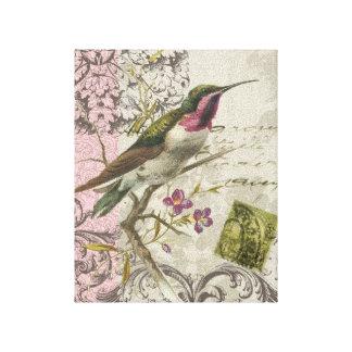 Vintage Hummingbird stretched canvas Canvas Print