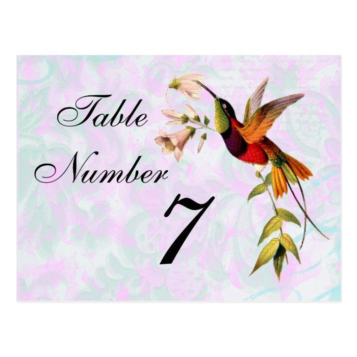 Vintage Hummingbird Table Number Card