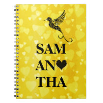 Vintage Hummingbird Typography Personalized Hearts Notebook