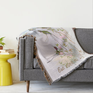 Vintage Hummingbirds Floral Custom Wedding Gift Throw