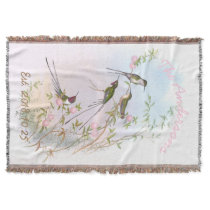 Vintage Hummingbirds Floral Custom Wedding Gift Throw