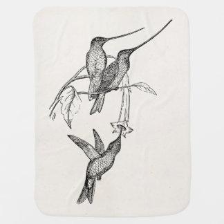Vintage Hummingbirds Long Beaks Personalized Birds Baby Blanket