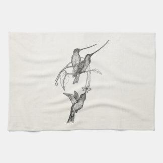 Vintage Hummingbirds Long Beaks Personalized Birds Kitchen Towels