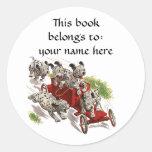 Vintage Humor Cute Dalmatian Puppy Dogs Bookplate Classic Round Sticker