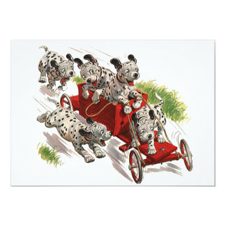 Vintage Humor Cute Dalmatian Puppy Dogs Fire Truck Card