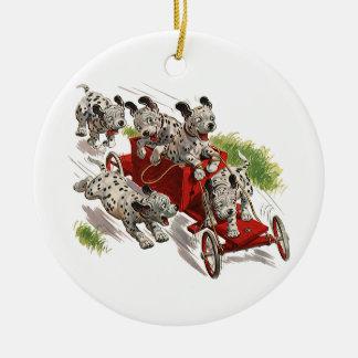 Vintage Humor Cute Dalmatian Puppy Dogs Fire Truck Ceramic Ornament