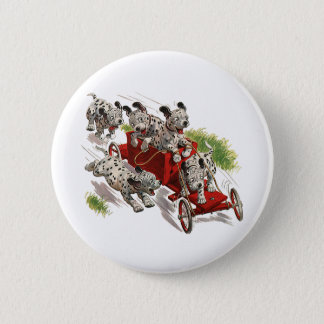 Vintage Humor Cute Dalmatian Puppy Dogs Fire Truck Pinback Button