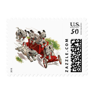 Vintage Humor Cute Dalmatian Puppy Dogs Fire Truck Postage