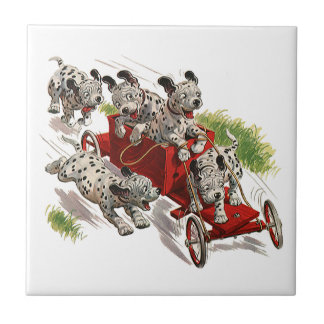Vintage Humor Cute Dalmatian Puppy Dogs Fire Truck Tile