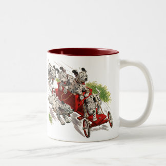 Vintage Humor Cute Dalmatian Puppy Dogs Fire Truck Two-Tone Coffee Mug