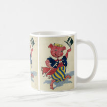 Vintage Humor, Cute Happy Dancing Pig Dances Coffee Mug